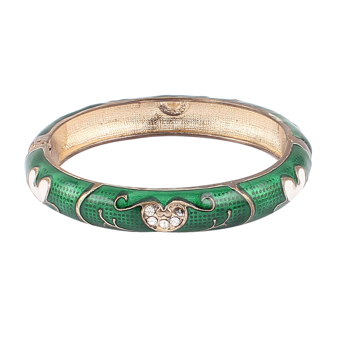 Woman Lady Jewelry Gift Oval Cuff Heart Carved Enamel Bracelet Bangle Dark Green