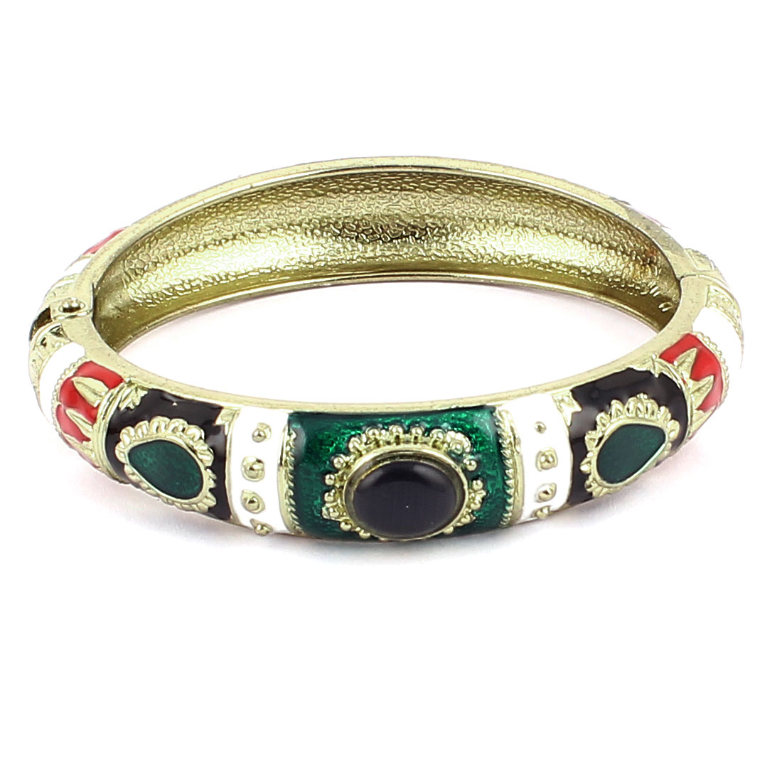 Lady Spring Hinged Faux Gem Decor Round Cuff Enamel Bracelet Bangle Colorful
