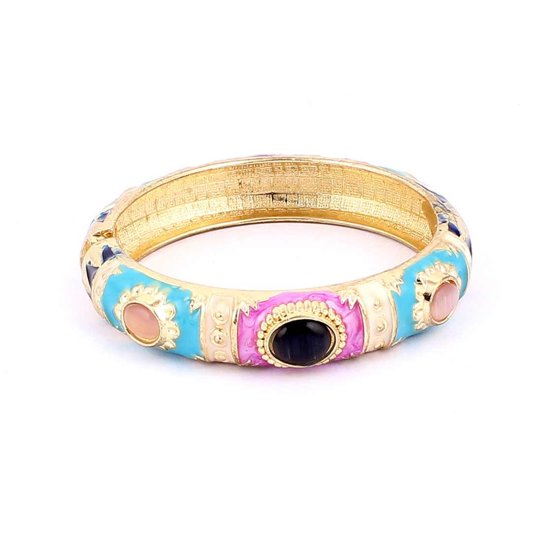 Woman Spring Hinged Faux Gem Decor Round Cuff Enamel Bracelet Bangle Colorful