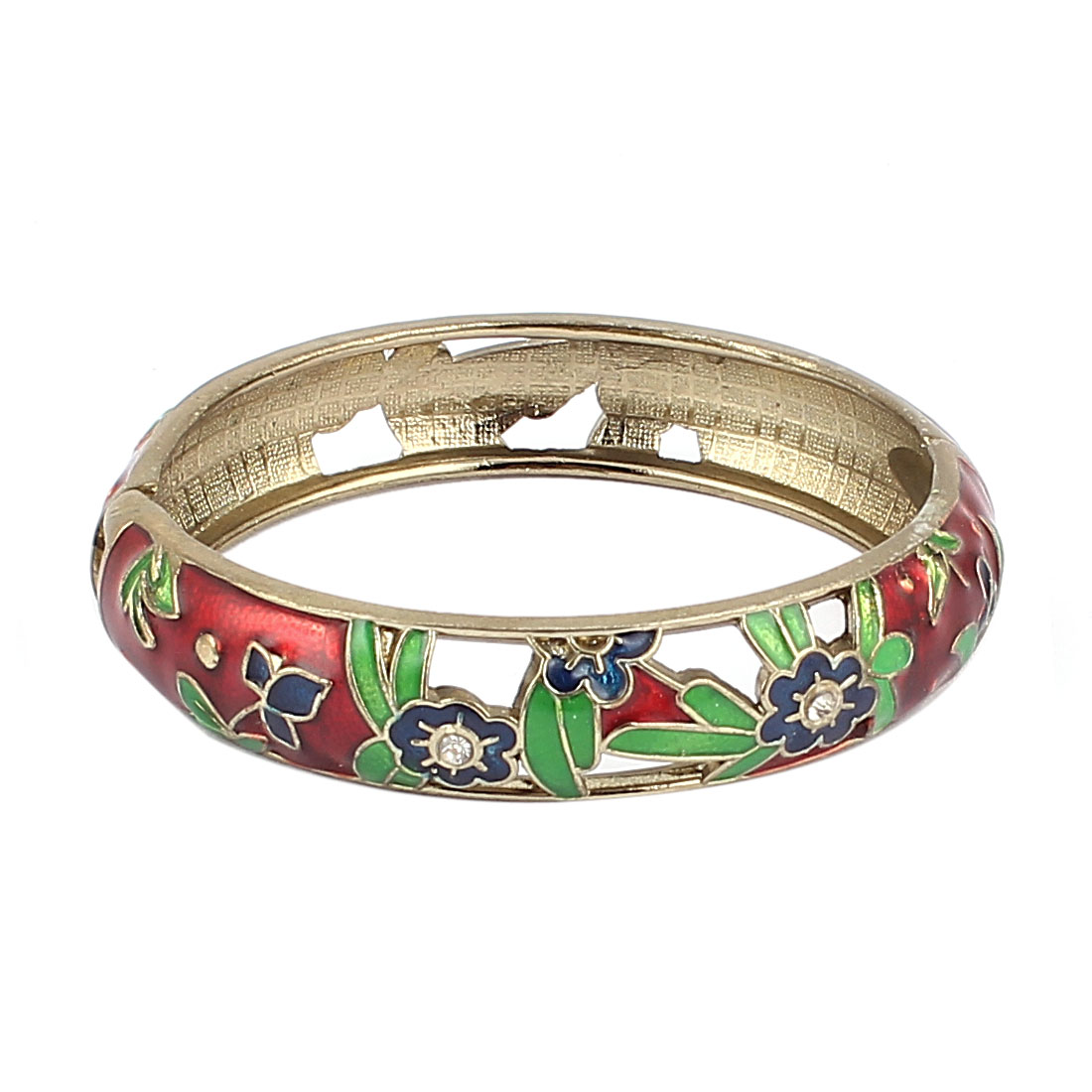 Woman Lady Spring Hinged Floral Carved Enamel Cuff Bracelet Bangle Wristband Red