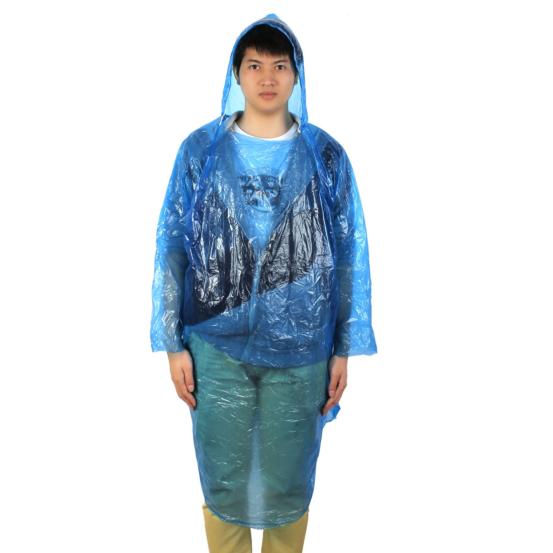 Unisex Outdoor Camping Hiking Cover Plastic Disposable Pullover Raincoat Blue