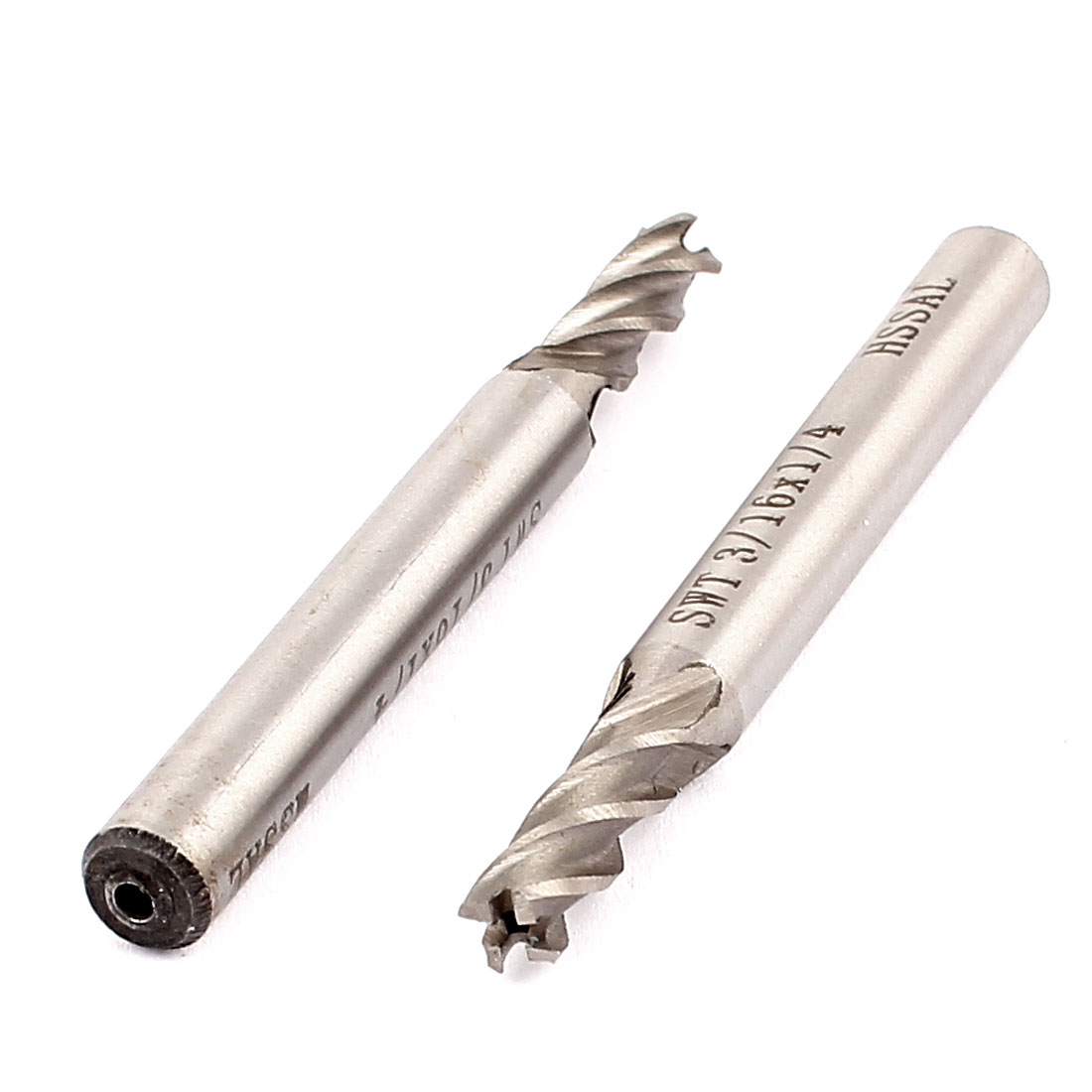 "3/16"" Cutting Dia 4 Flutes HSSAL End Mill Milling Machine Cutter CNC Bit 2Pcs"