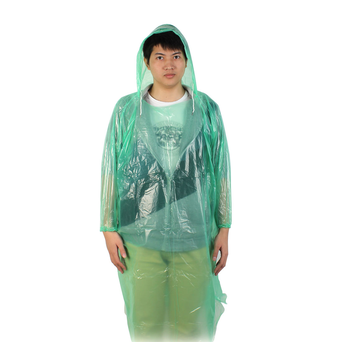Unisex Outdoor Camping Hiking Cover Plastic Disposable Pullover Raincoat Green