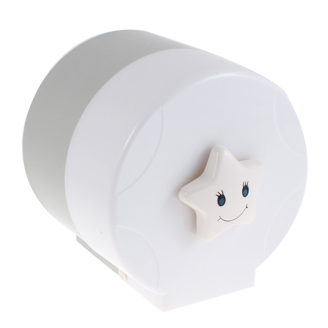 Plastic Cylindrical Style Toilet Paper Rack Tissue Holder Box White