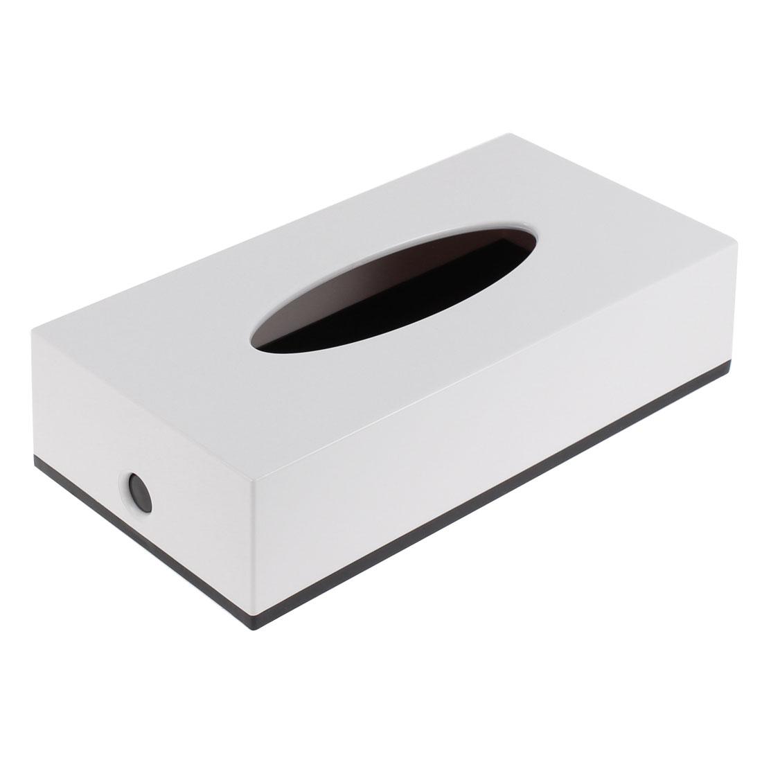 Household Hotel Bar Plastic Rectangle Paper Tissue Box Holder Case White