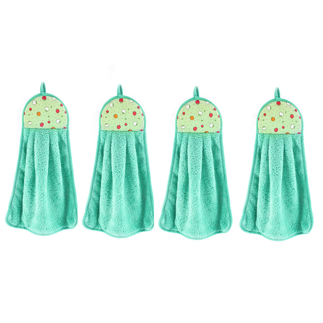 Apple Pattern Wall Hanging Cleaning Hand Drying Towel Turquoise 4 Pcs