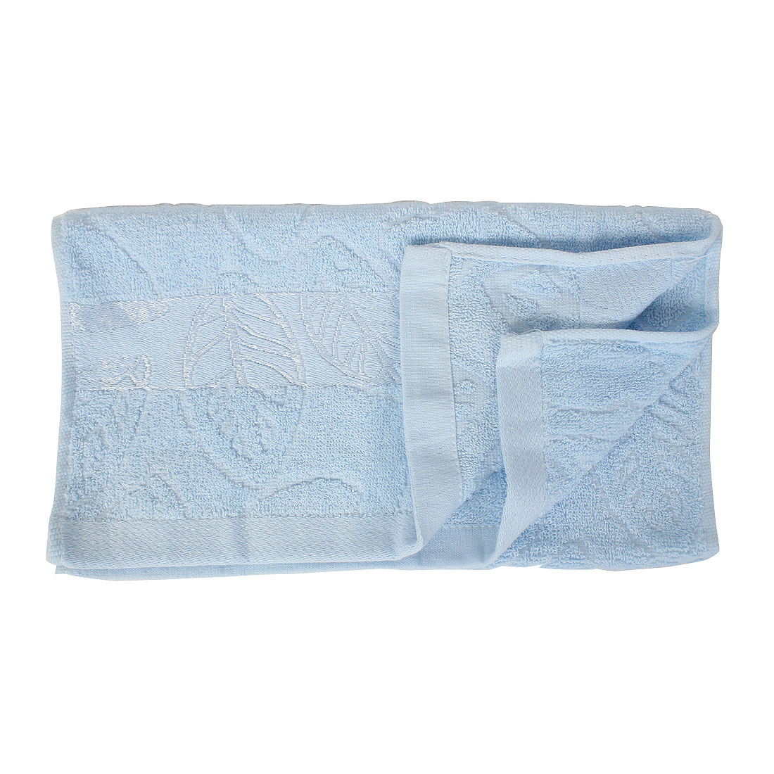 Terrycloth Leaves Pattern Shower Bath Towel 72cm x 33cm Light Blue