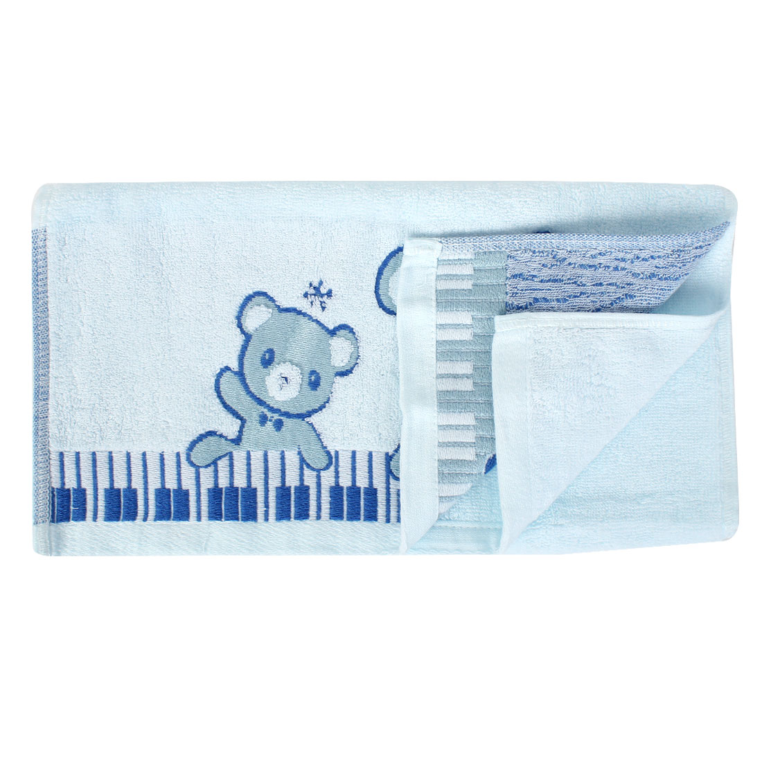 Cotton Blend Bear Pattern Shower Bath Towel 75cm x 34cm Light Blue