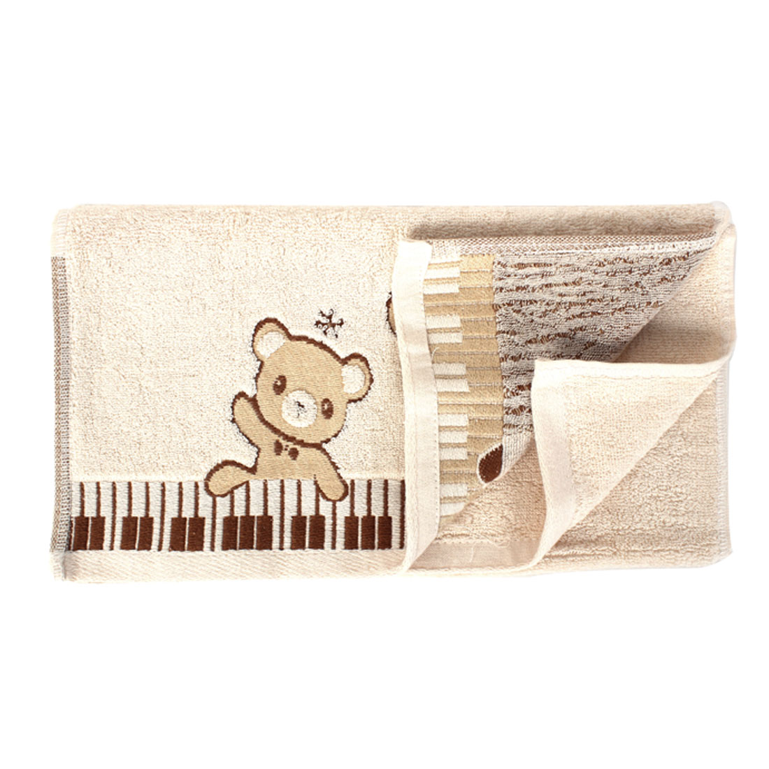 Terrycloth Bear Printed Water Absorbent Shower Bath Towel 75cm x 34cm Beige