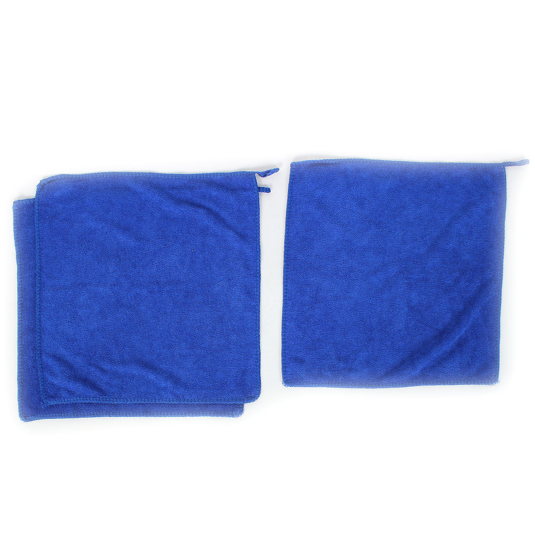 Household Water Absorbent Drying Towel Washcloth 30cm x 30cm Blue 3pcs