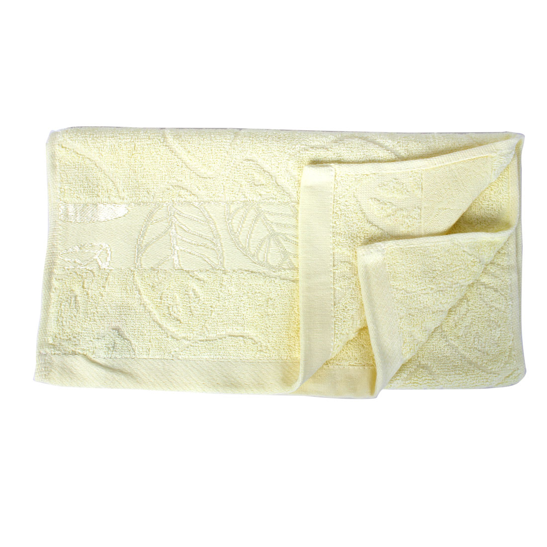 Terrycloth Leaves Pattern Drying Shower Bath Towel 72cm x 33cm Beige
