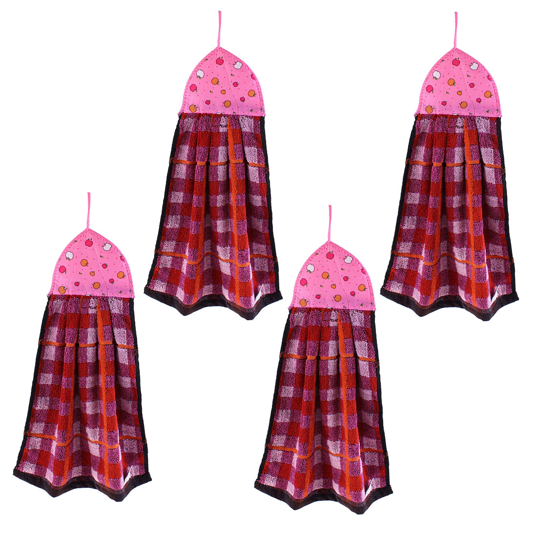 Kitchen Apple Printed Wall Hanging Hand Drying Towel Red Pink 4 Pcs