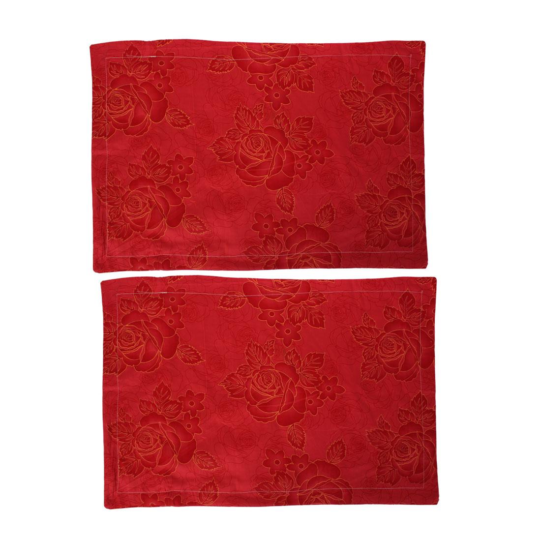 Cotton Blend Rose Pattern Pillow Case Cushion Cover 70cm x 47cm 2pcs