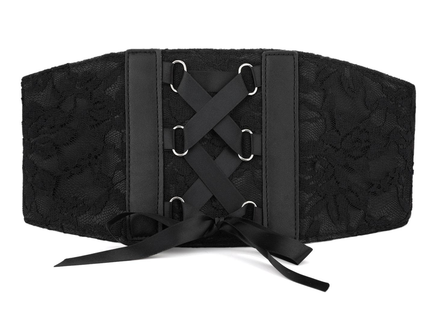 Press Button Cross Ribbon Elastic Corset Waist Cinch Belt Band 69cm Length