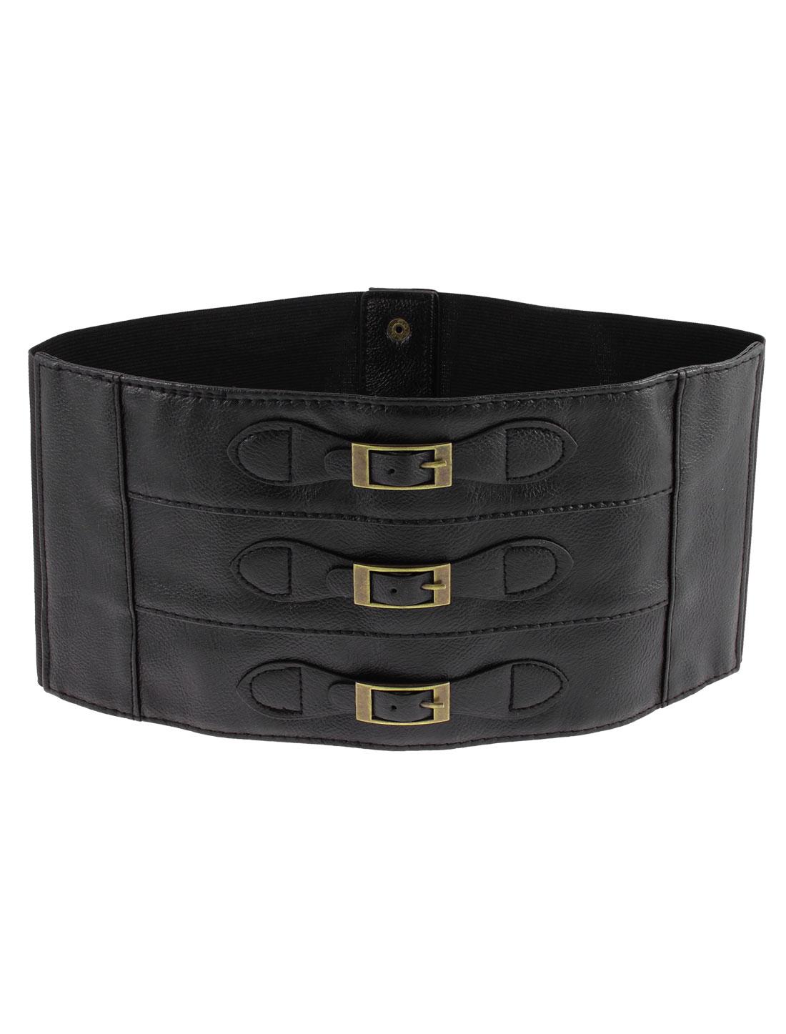 Press Button Single Row Buckle Elastic Corset Waist Cinch Belt Band 73cm Length