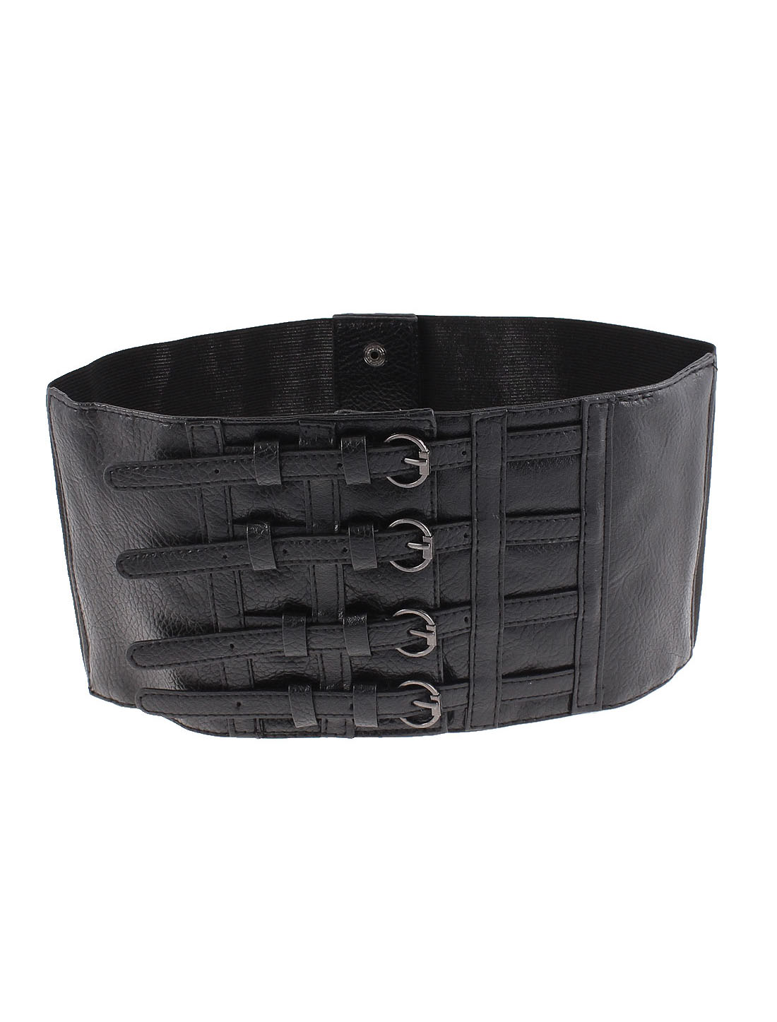 Lady Press Button 4 Buckles Elastic Corset Waist Cinch Belt Band 70cm Length