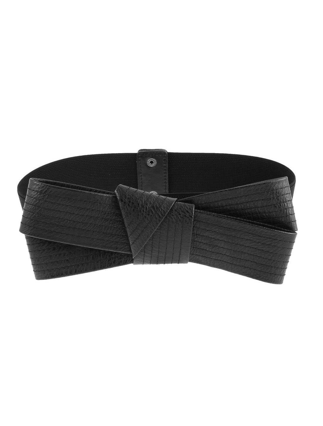 Bowknot Design Press Button Elastic Corset Waist Cinch Belt Band 75cm Length
