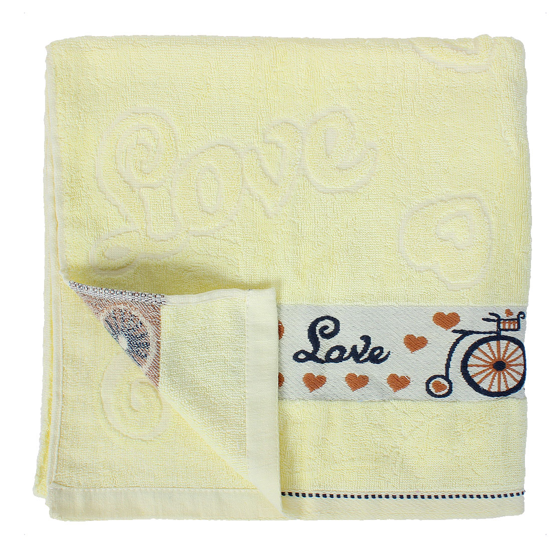 Terrycloth Heart Pattern SPA Bath Towel 55 Inch Length Light Yellow
