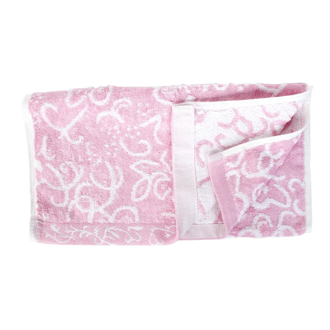 Terrycloth Flower Pattern Bath Towel Washing Cloth 76cm x 34cm Pink
