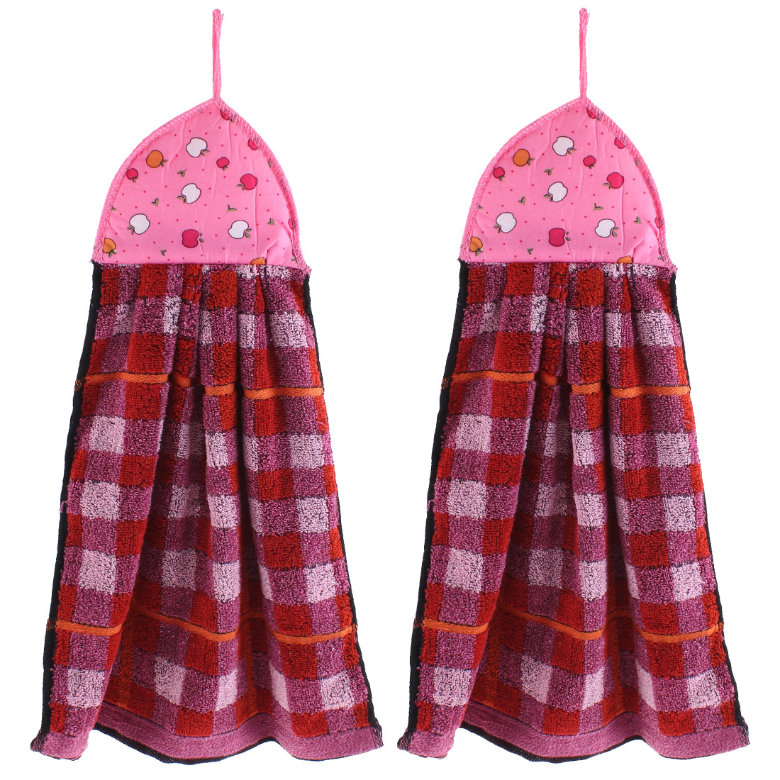 Kitchen Apple Pattern Wall Hanging Hand Drying Towel Pink Red 2 Pcs