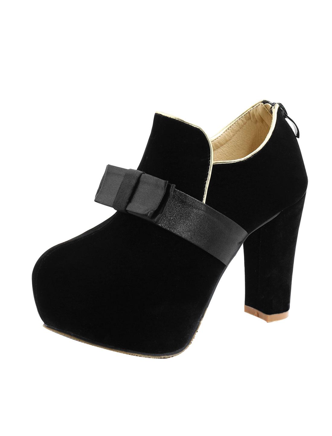 Women Bowknot Embellished Chunky Heels Platform Shoes Black US 8.5