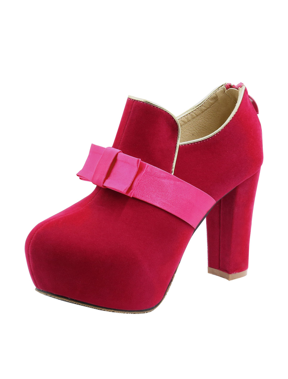 Women Bow-Topped Metallic Trim Platform Chunky Heel Pumps Red US 8.5