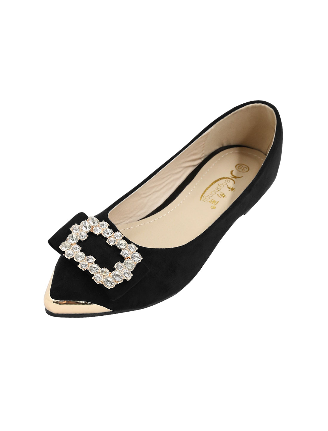 Ladies Metallic Pointed Toe Rhinestone Embellished Flat Shoes Black US 8