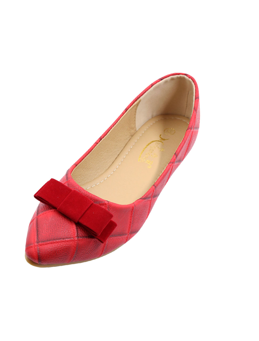 Ladies Pointed Toe Argyle Pattern Bowknot Embellished Leisure Flats Red US 8