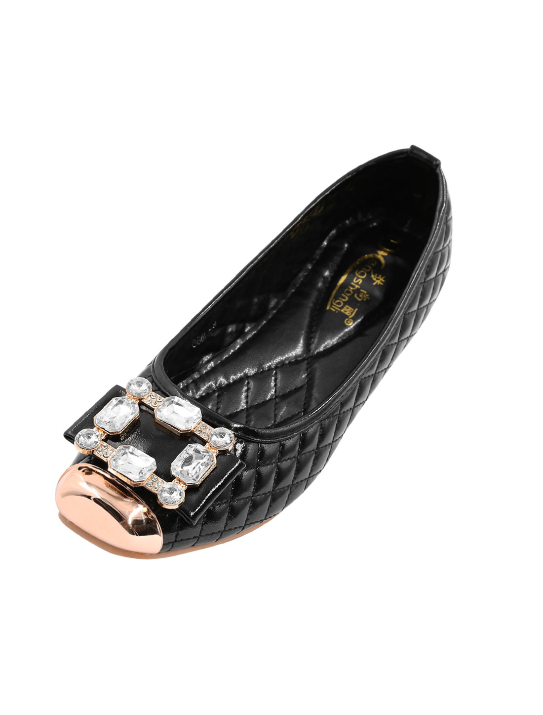 Ladies Square Metallic Toe Rhinestone Embellished PU Flats Black US 9