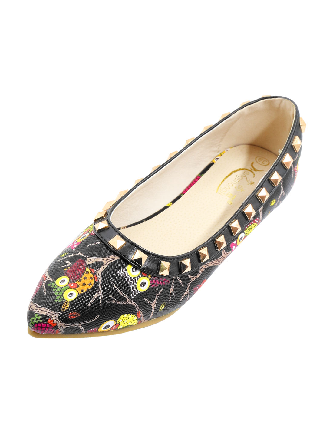 Women Studded Embellished Owl Pattern Pointed Toe Flats Black US 9