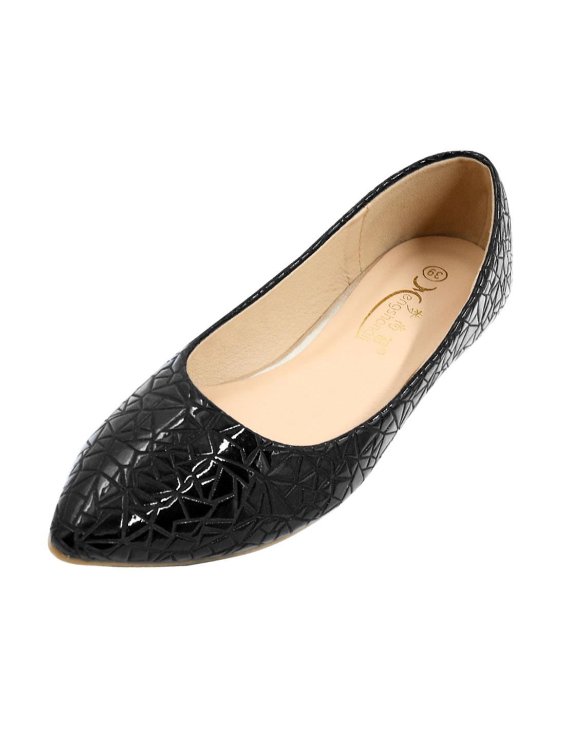 Ladies Point Toe Crocodile Effect PU Leather Casual Flats Black US 8.5