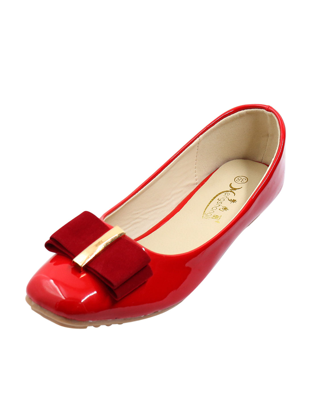 Women Metallic Center Ribbon Bow Square Toe Casual Flats Red US 7.5