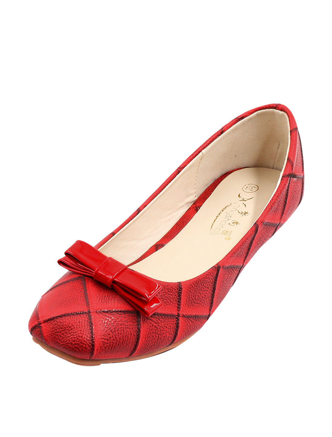 Women Square Toe Bowknot Embellished Argyle Pattern Casual Flat Shoes Red US 8