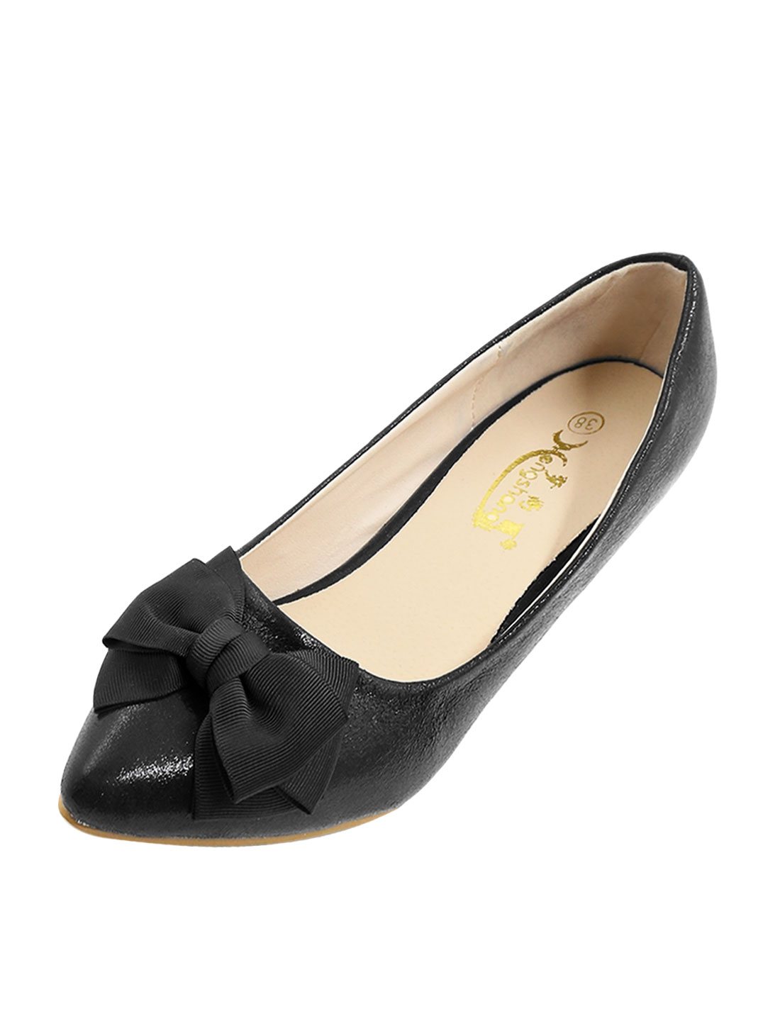 Ladies Bowknot Decor Shiny Casual Low Heel Pumps Black US 8