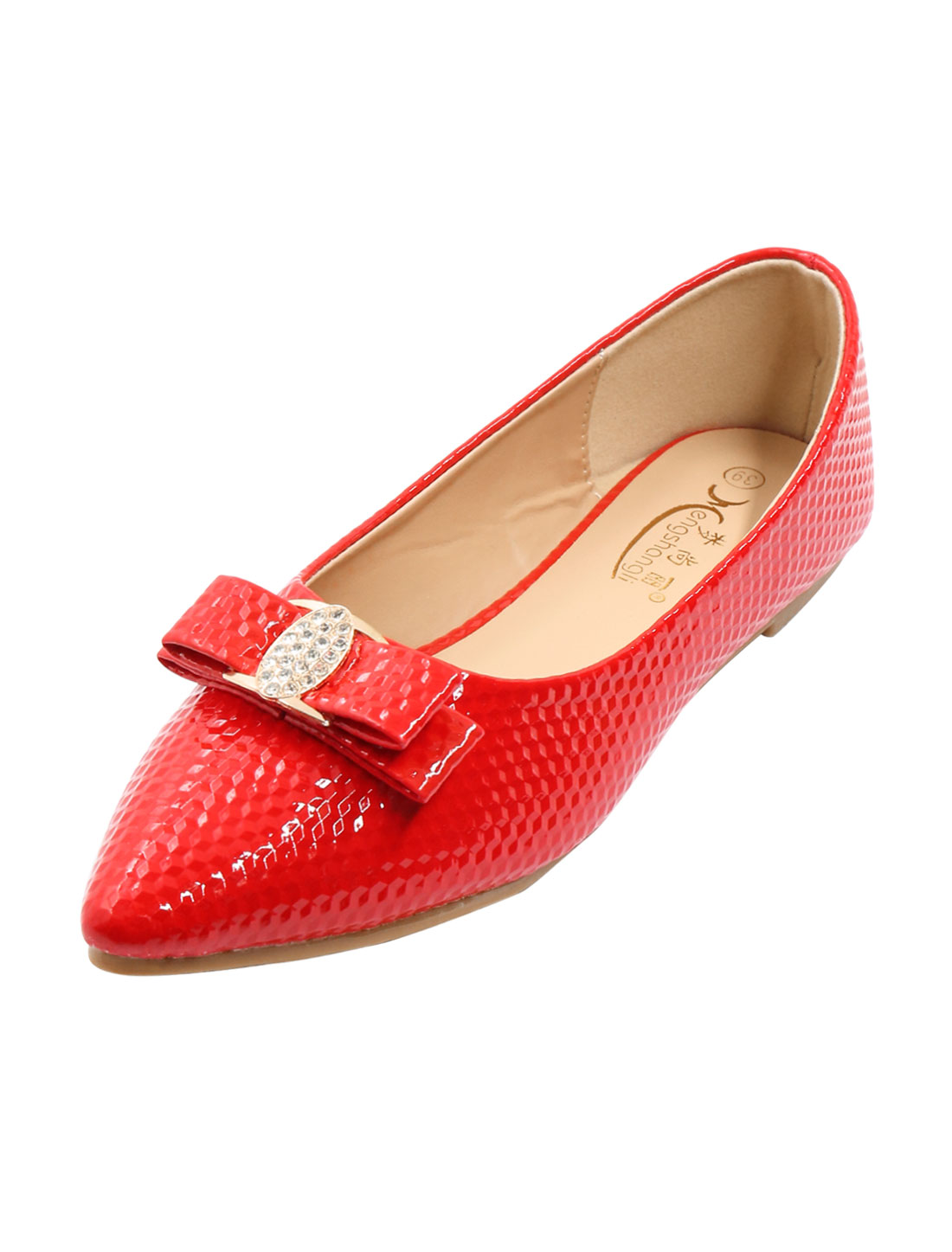 Ladies Rhinestones Bowknot Decor Textured Pointed Toe Flats Red US 9