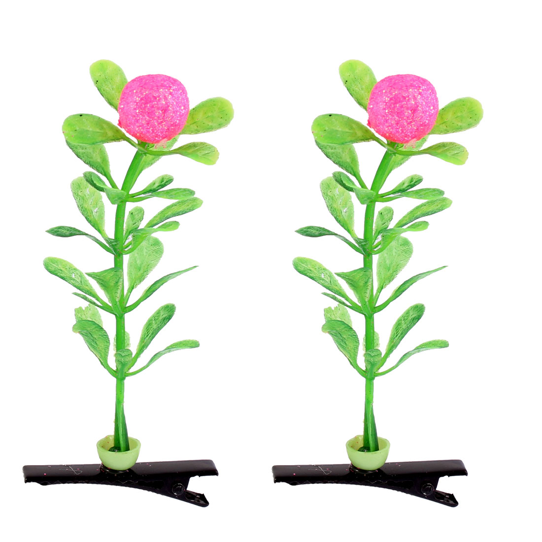 Lady Decor Floral Artificial Plant Antenna Ball Flower Hair Clips Pink 2 Pcs