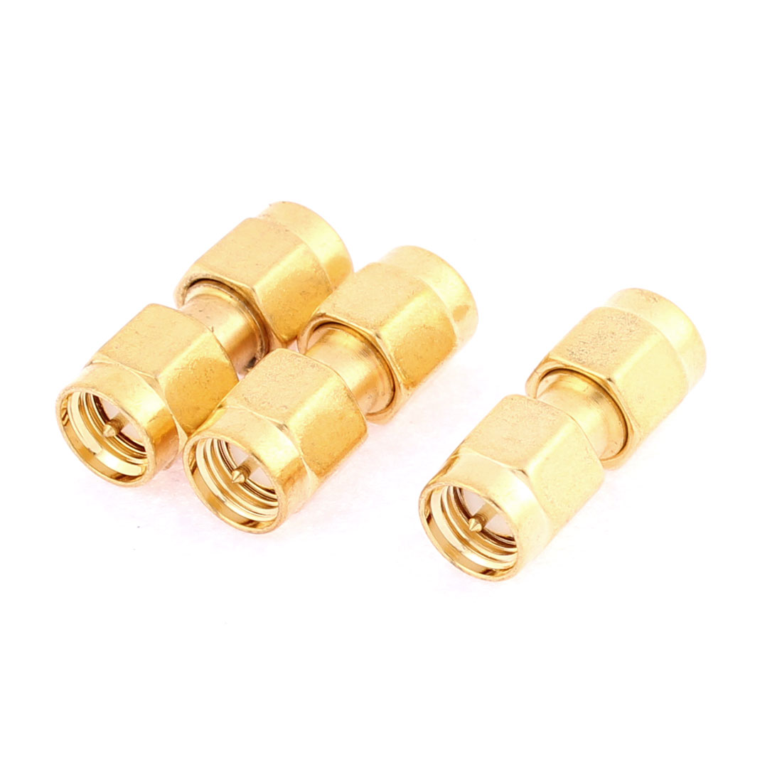 SMA Male to Male RF Coaxial Adapter Stright Connector Gold Tone 3 Pcs