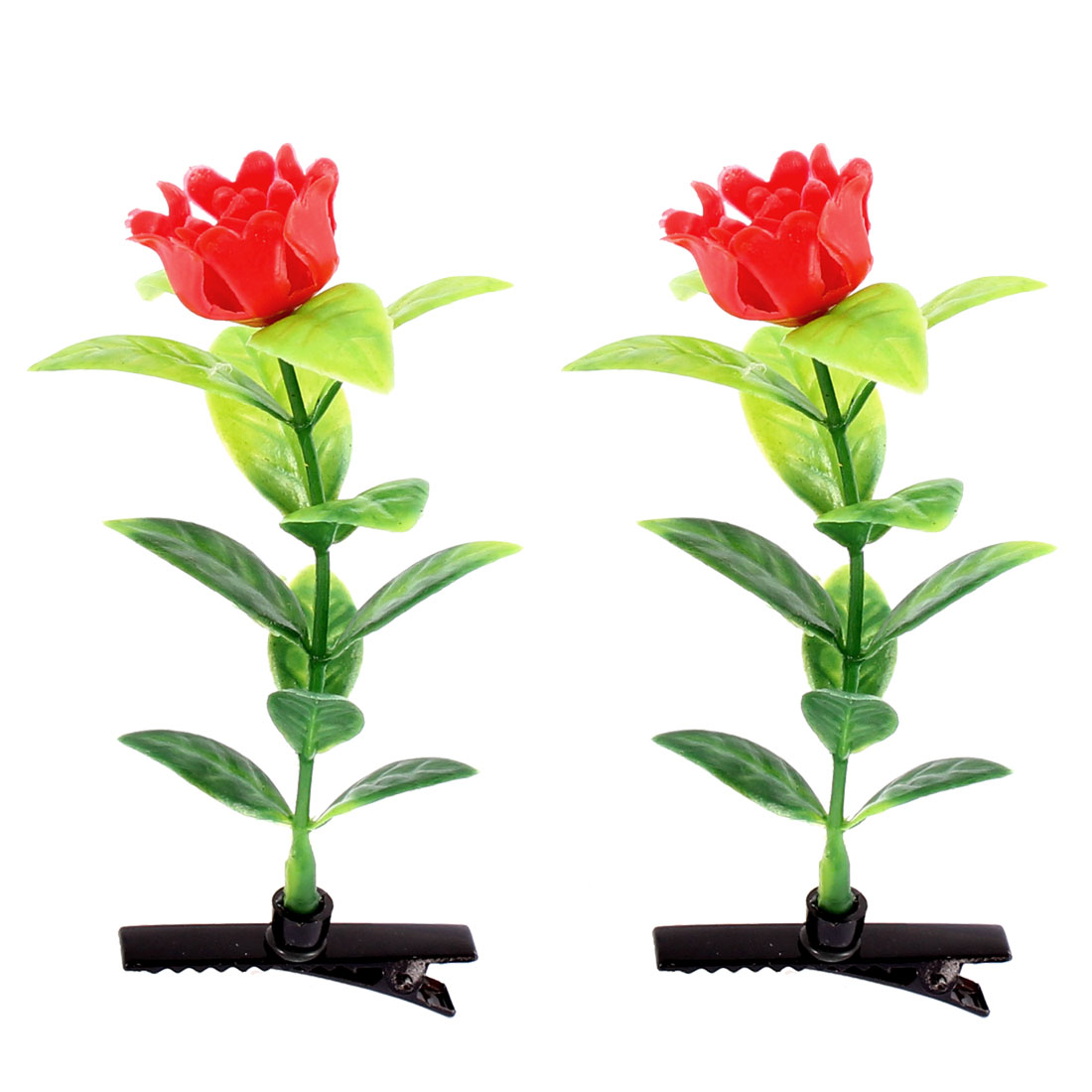 Children Adult Floral Antenna Hairpin Artificial Red Rose Hair Clips 2 Pcs