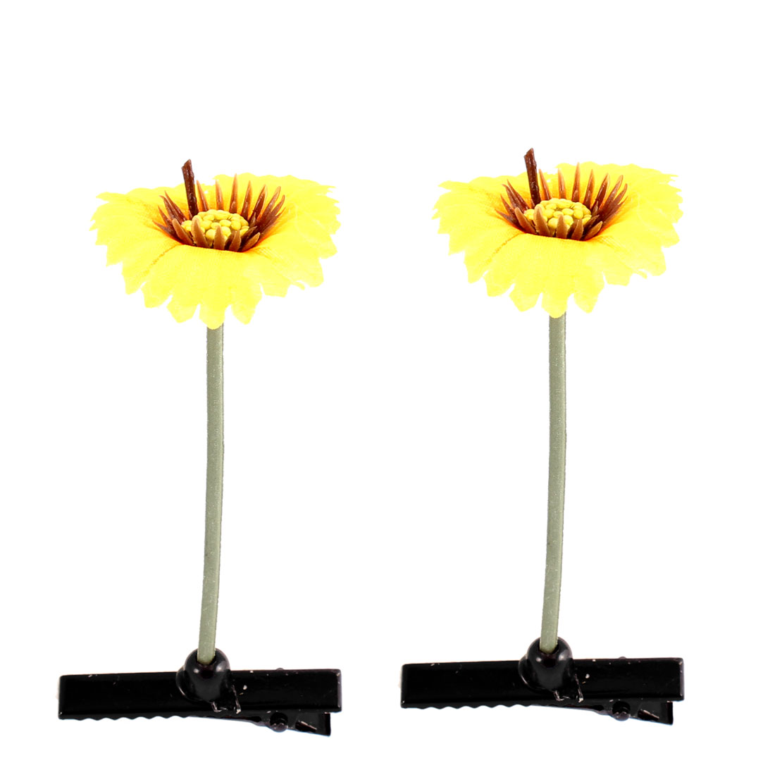 Floral Antenna Hairpin Artificial Yellow Big Flower Hair Clips 2 Pcs