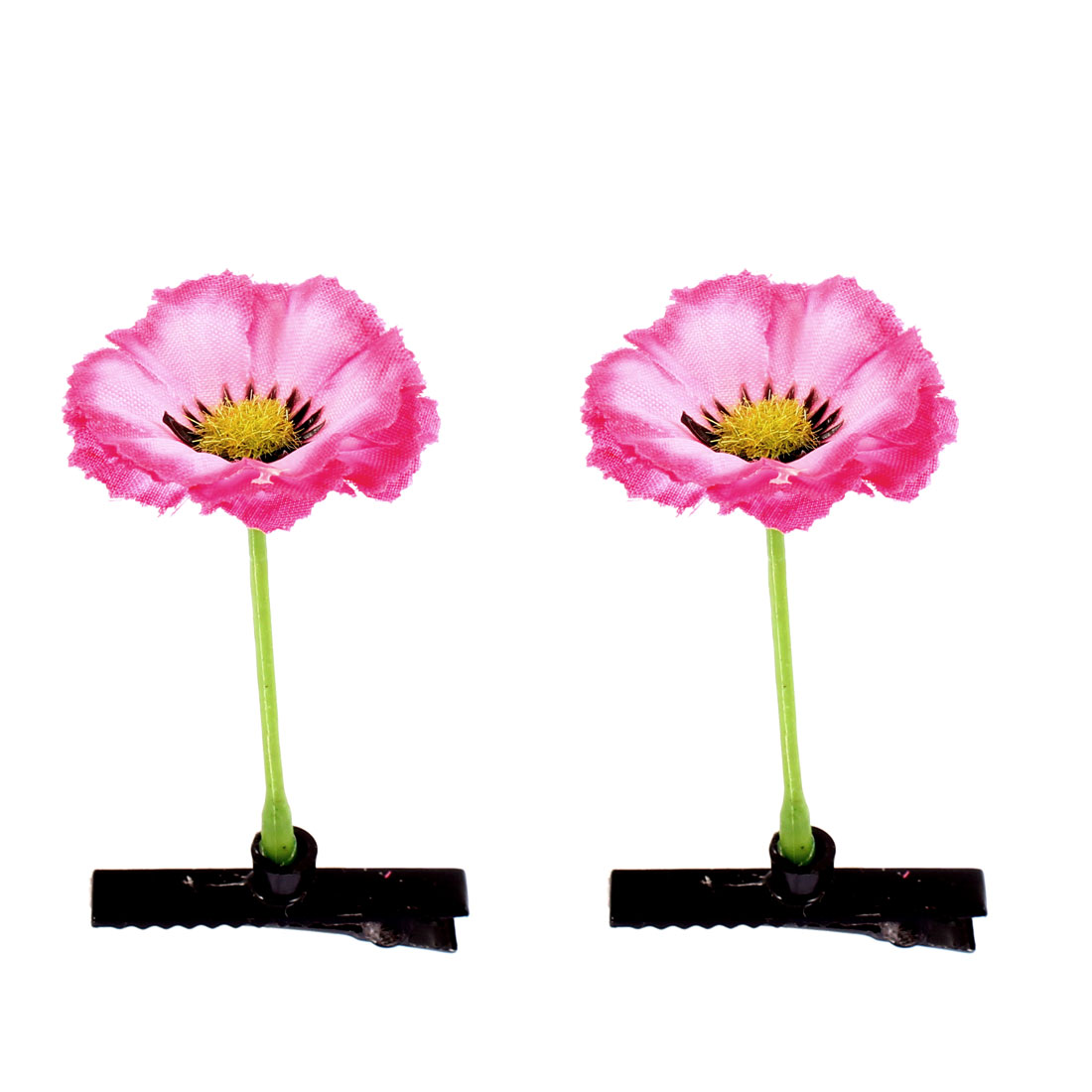 Women Artificial Flower Floral Antenna Hairpin Hollyhock Hair Clips Pink 2 Pcs