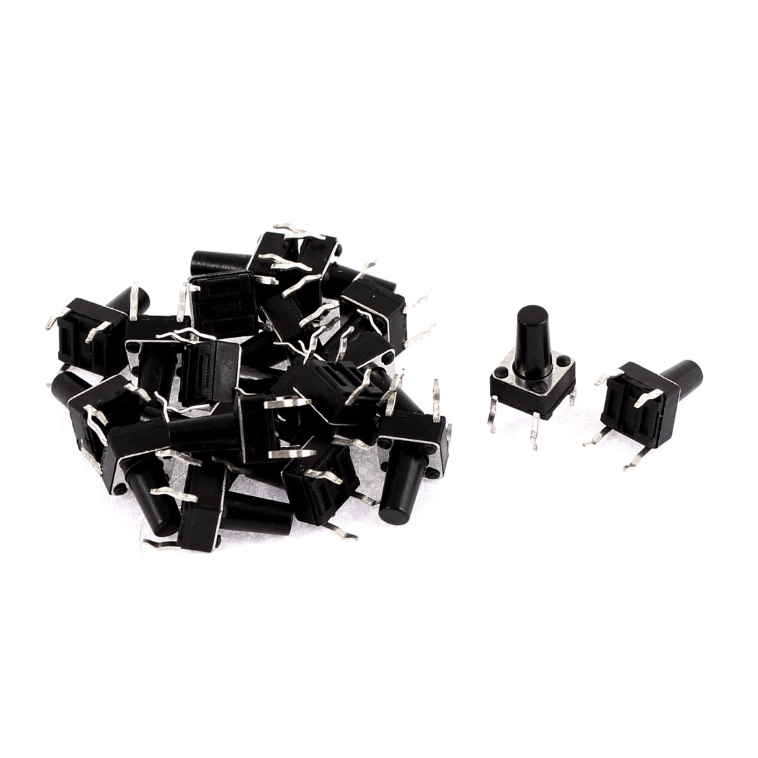 Push Type Tact Switch Plastic Momentary Button Black 6 x 6 x 10mm 20 Pcs