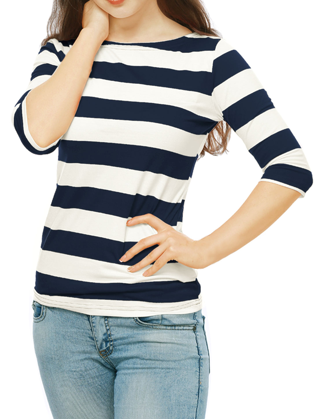 Women Elbow Sleeves Rugby Stripes Casual Tee Blue XL