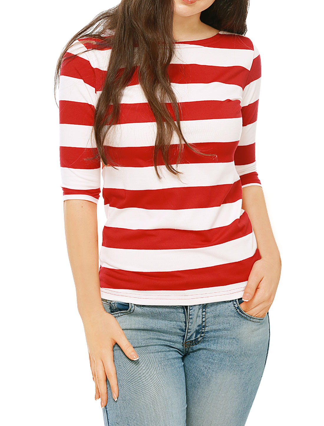 Allegra K Ladies Elbow Sleeves Boat Neck Bold Stripes Tee Shirt Red L