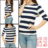 Woman 3/4 Sleeves Boat Neck Bold Stripes Tee Shirt Blue M