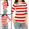 Women 3/4 Sleeves Boat Neck Horizontal Striped Tee Red XS