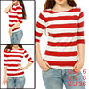 Women 3/4 Sleeves Horizontal Striped Boxy Tee Red S