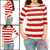 Women 3/4 Sleeves Casual Horizontal Bar Striped Tee Red M