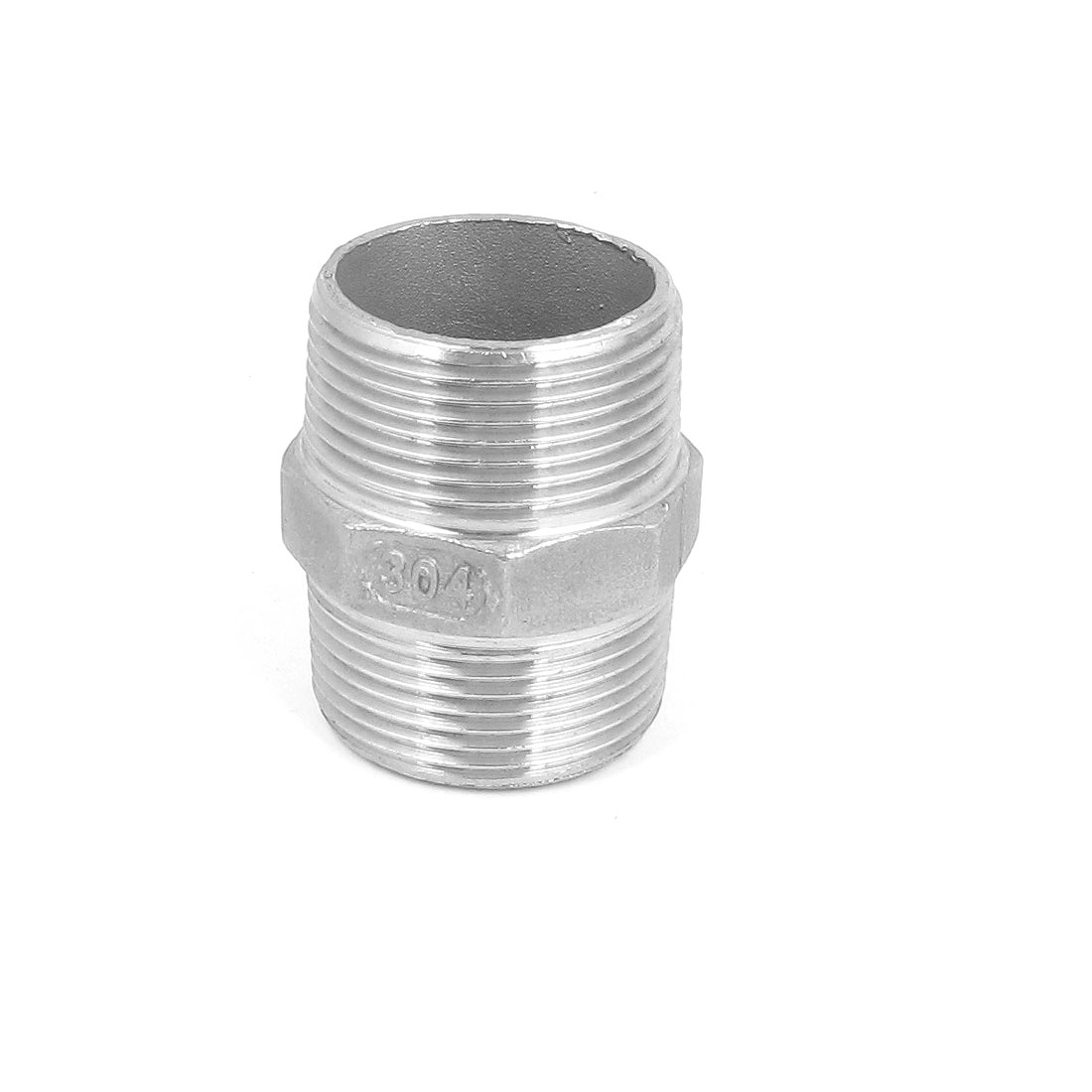 1 1/4 BSP to 1 1/4 BSP Male Thread Hex Nipple Quick Coupler Silver Tone