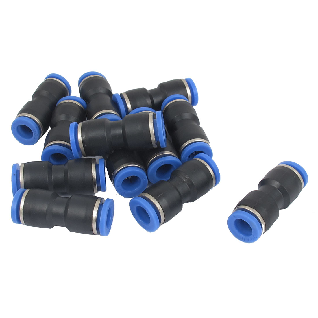 Push in Fitting One Touch Straight Union Connector 8mm to 8mm 12 Pcs