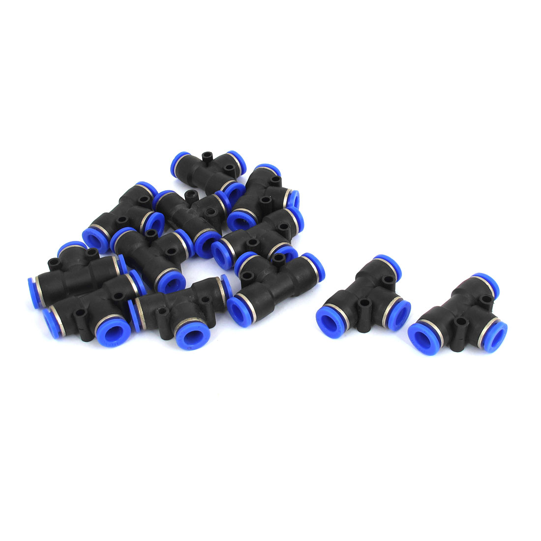 Pneumatic T Connector Air Tube Quick Release Fittings 8mm Dia 12pcs